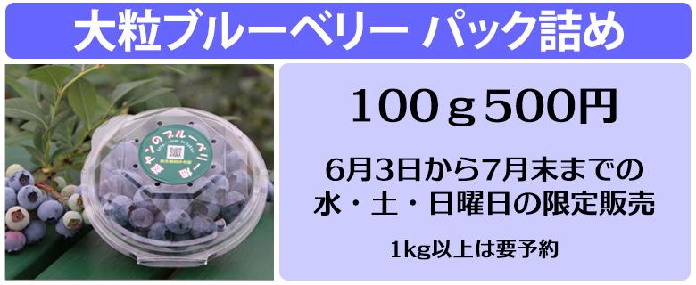 パック詰め販売:100グラム500円