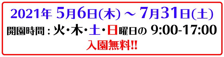 5/6-7/31 火木土日 9時-17時 入園無料